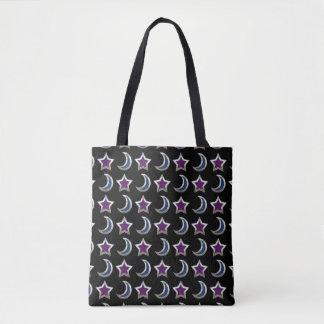 Negro púrpura de plata del modelo de las estrellas bolsa de tela