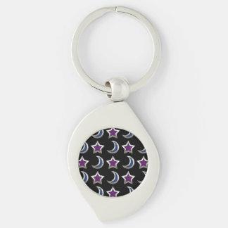 Negro púrpura de plata del modelo de las estrellas llavero plateado en forma de espiral