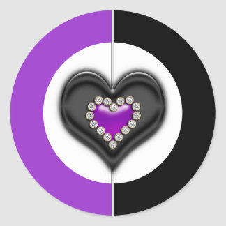 Negro púrpura del corazón pegatina redonda