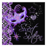 Negro púrpura del dulce 16 del dulce dieciséis de  invitacion personalizada