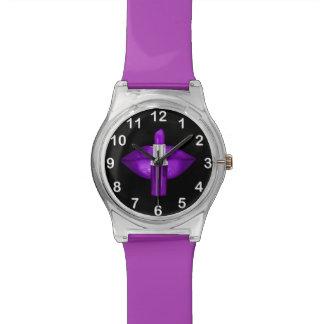 Negro púrpura del encanto del brillo del lápiz relojes de pulsera