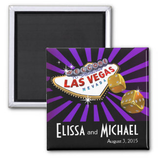 Negro púrpura del favor del boda de Las Vegas Star Imán Cuadrado