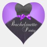 Negro púrpura del fiesta de Bachelorette del Pegatina Corazon