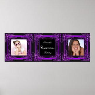 Negro púrpura del fiesta de Quinceanera de la foto Impresiones