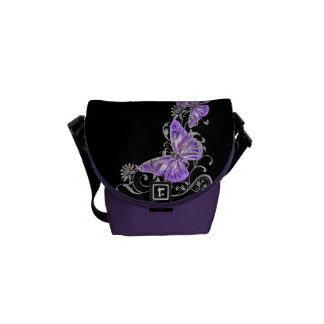 Negro púrpura del modelo de mariposa bolsa de mensajeria