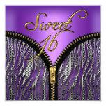 Negro púrpura del oro de la cebra del dulce invitación