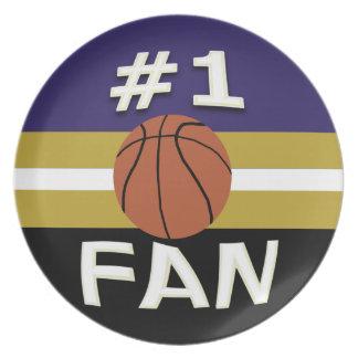 Negro púrpura del oro de la fan de baloncesto del  plato para fiesta