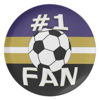 Negro púrpura del oro del aficionado al fútbol del plato para fiesta