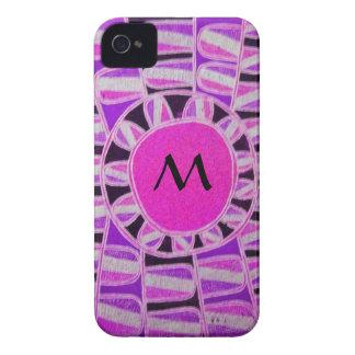 Negro púrpura del rosa DE ENERGÍA SOLAR del Case-Mate iPhone 4 Fundas