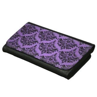 Negro púrpura del vintage del damasco del Flourish