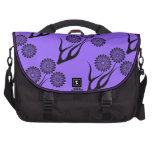Negro púrpura floral de las flores bolsas de portatil