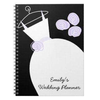 "Negro púrpura planificador del boda"" del vestido d libreta"