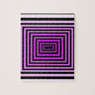 Negro púrpura torcido de la ilusión óptica del jue rompecabezas con fotos