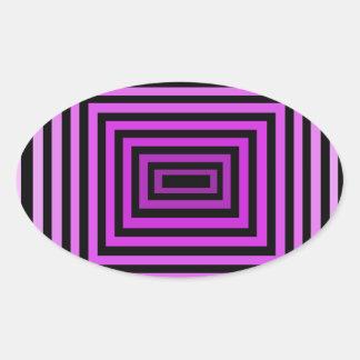 Negro púrpura torcido de la ilusión óptica del pegatina ovalada