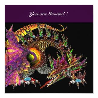 """Negro púrpura violeta de DRAGO Invitación 5.25"""" X 5.25"""""""
