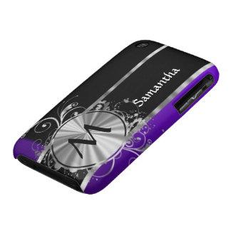 Negro púrpura y de plata personalizada iPhone 3 carcasas