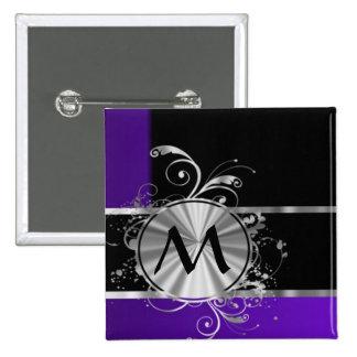 Negro púrpura y de plata personalizada pin cuadrado