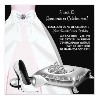 """Negro Quinceanera del rosa de la tiara del vestido Invitación 5.25"""" X 5.25"""""""