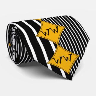 Negro, rayas verticales blancas, diamantes del corbata personalizada