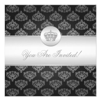 Negro real de la corona de la ducha nupcial elegan invitacion personal