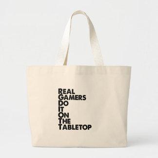 Negro real de los videojugadores bolsa de mano