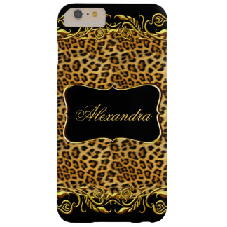 Negro real del oro del leopardo de la élite funda de iPhone 6 plus barely there