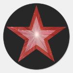 Negro redondo del pegatina de la estrella roja