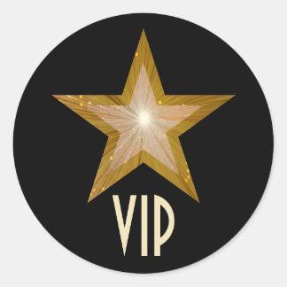 Negro redondo del pegatina del VIP de la estrella