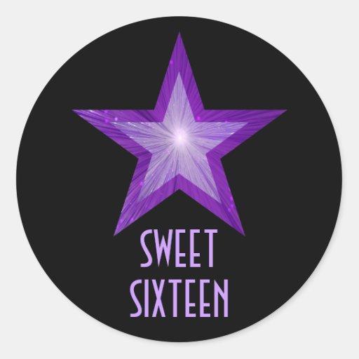"Negro redondo púrpura del pegatina del ""dulce"
