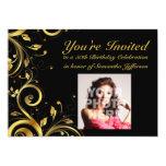 Negro+Remolino del oro, 50.a fiesta de cumpleaños Invitación Personalizada