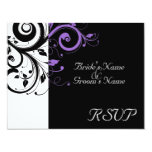 Negro +Remolino púrpura blanco que se casa Comunicados Personalizados
