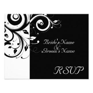 Negro +Remolino reverso blanco que se casa haciend Invitaciones Personalizada