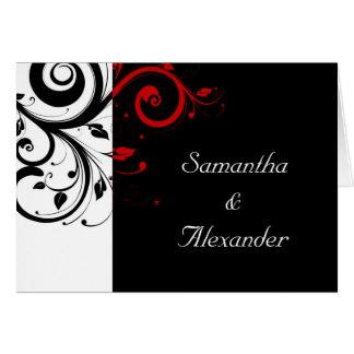 Negro+Remolino rojo blanco doblado casando la invi Tarjetas