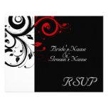 Negro +Remolino rojo blanco que se casa haciendo j Invitación