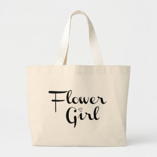 Negro retro de la escritura del florista en blanco bolsa tela grande