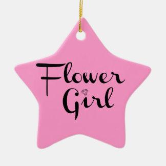 Negro retro de la escritura del florista en rosa adorno navideño de cerámica en forma de estrella