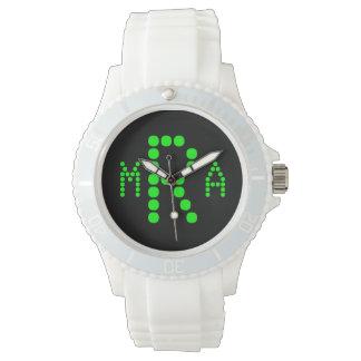 Negro retro del verde del ordenador del monograma relojes de mano