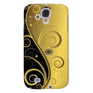 Negro retro elegante y remolino floral del oro funda para galaxy s4