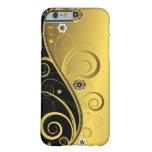 Negro retro elegante y remolino floral del oro funda de iPhone 6 barely there