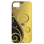 Negro retro elegante y remolino floral del oro iPhone 5 Case-Mate cobertura