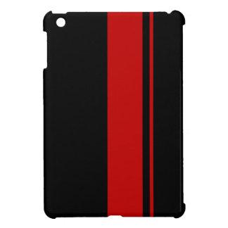 Negro retro y caja roja del ipad de las rayas que