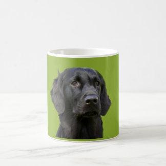 Negro revestido plano del perro del perro taza clásica
