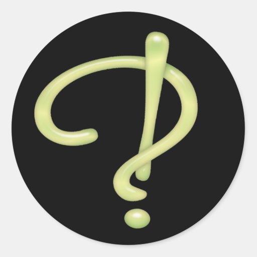Negro RND del vidrio verde de Interrobang Etiquetas Redondas