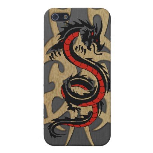 Negro rojo 1 del dragón iPhone 5 carcasa