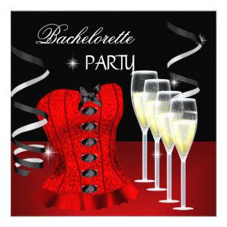 Negro rojo Champán del corsé del fiesta de Bachelo Invitacion Personalizada