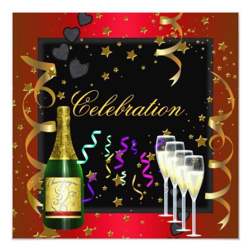 Negro rojo Champán del oro de la celebración del Invitación 13,3 Cm X 13,3cm