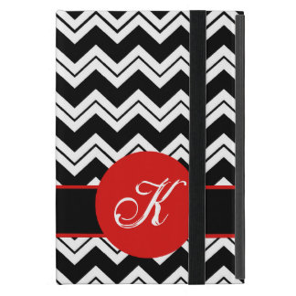 Negro rojo Chevron blanco ZizZag de la inicial del iPad Mini Fundas
