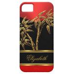 Negro rojo de bambú asiático con clase elegante de iPhone 5 Case-Mate coberturas
