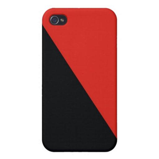 negro rojo de la bandera de la anarquía iPhone 4 funda