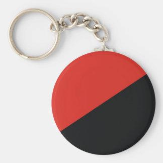 negro rojo de la bandera de la anarquía llavero redondo tipo pin